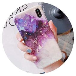 Purple Crystal Marble Phone Case for iPhone X XR XS XS Max c