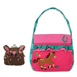 Stephen Joseph Girls Quilted Horse Purse with Coin Purse - G