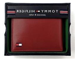 TOMMY HILFIGER Red Leather Mens Passcase bifold Wallet New i