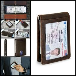 RFID Blocking Bifold Slim Wallet Leather Front ID Pocket Men