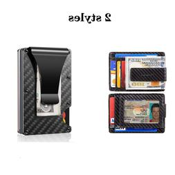 RFID Blocking Carbon Fiber Minimalist Money Clip Slim Front