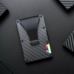 RFID Blocking Carbon Fiber Minimalist Ridge Money Clip Front