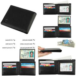 Rfid Blocking Cowhide Leather Bifold Wallet For Men With 2 I