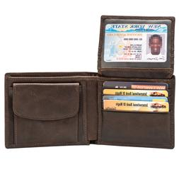 RFID Blocking Genuine Leather Bifold Wallet for Men with Zip