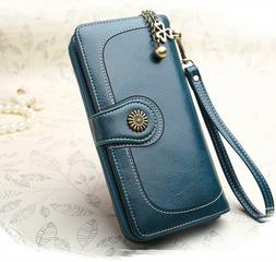 RFID Blocking Genuine Polished Leather Wallet for Women Larg
