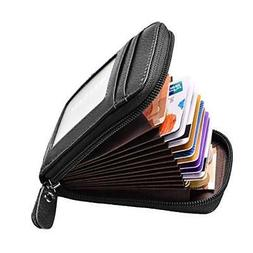 RFID Blocking Leather Wallet Credit Card Case Holder Zipper