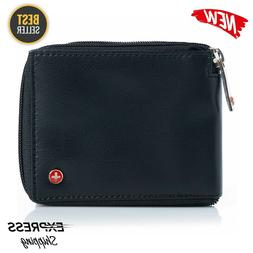 Alpine Swiss RFID Blocking Mens Leather Wallet Zip Around ID