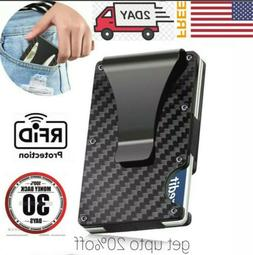 RFID Blocking Slim Money Clip Mens Carbon Fiber Credit Card