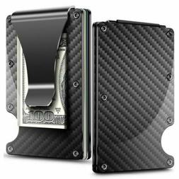 RFID Blocking Wallet Mens Carbon Fiber Minimalist Pockets Mo