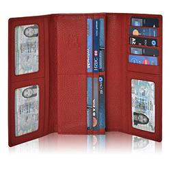 RFID Leather Checkbook Wallets for Women -Credit Card Slots
