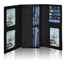 RFID Leather Checkbook Wallets for Women Credit Card Slots C