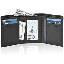 RFID Leather Trifold Wallets for Men - Handmade Slim Mens Wa