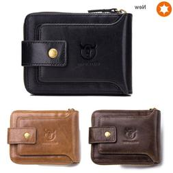 RFID Men's Leather Zipper Wallet Bifold Purse with Coin Pock
