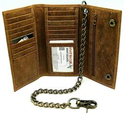 RFID Blocking Leather Biker Trifold Chain Wallet Long Checkb