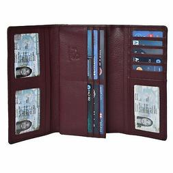 RFID Wallets for Women - Mulberry Genuine Leather Checkbook