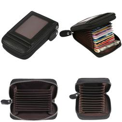 RFID Wallets for Women Small Leather RFID Blocking Zipper Cr