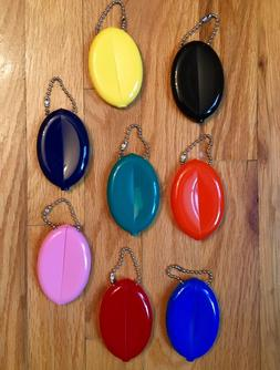 RUBBER SQUEEZE OVAL COIN PURSE MENS WOMENS MONEY HOLDER WALL