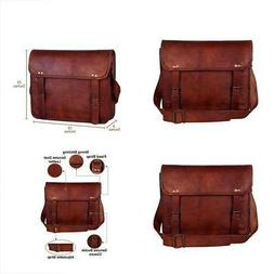 "13"" Handmade Leather Messenger Bag Satchel Leather Laptop Ba"