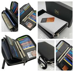 AG Wallets Women's RFID Blocking Cow Leather Zip Around Wall