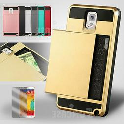For Samsung Galaxy Note 9 3 4 5 Card Wallet Pocket Rugged Sh