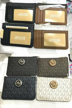 Michael Kors Signature Fulton Small Top Zip Coin pouch W/ ID