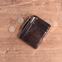 Slim Front Pocket Genuine Leather Wallet Men Card Holder Min