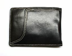 Slim Front Pocket Wallet with Money Clip -Black & Brown Leat