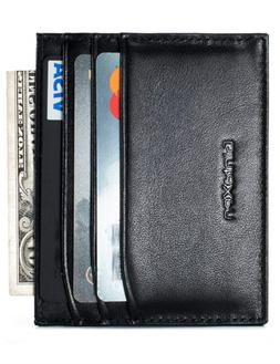 Slim Genuine Leather Credit Card Holder Front Pocket Wallet