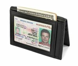 Slim Leather Bifold Front Pocket Wallet Credit Card Holder w