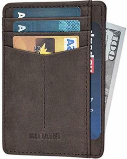 Slim Leather Wallet For Men with RFID Front Pocket Minimalis