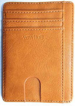 BUFFWAY Slim Minimalist Leather RFID Blocking Pocket Wallet