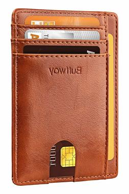 Slim Minimalist RFID Blocking Leather Wallets for Men and Wo
