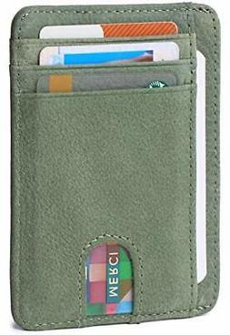 Slim Minimalist Wallet Front Pocket RFID Blocking Leather Cr