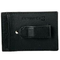 slim money clip black leather