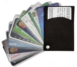 Slim Thin Mens Leather Swing Out Credit Card Holder Front Po