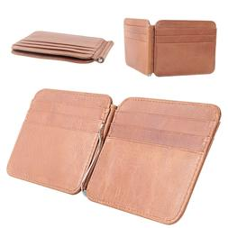 Slim Thin Mens Leather Wallet Money Clip Credit Card ID Hold