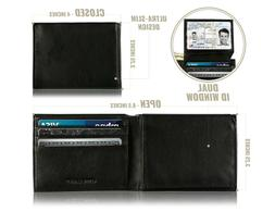 Mark Fred Slim Wallet for Men - Genuine Leather RFID Blockin