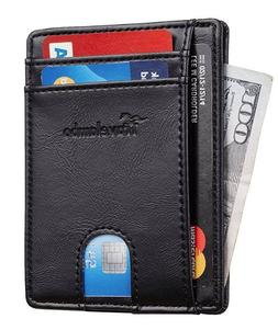 Slim Wallet Genuine Leather Small Size Travelambo RFID Front