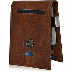 Slim Wallets Men With Money Clip - RFID Genuine Leather Fron