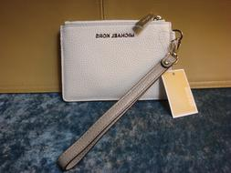 MICHAEL KORS Small Coin Purse Leather Wristlet Wallet~White/