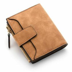 Small Wallet For Women Leather Zippered Slim Purse With Side