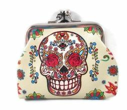 """Sugar Candy Skull Day Of The Dead 3"""" Coin Purse Beige Multi-"""