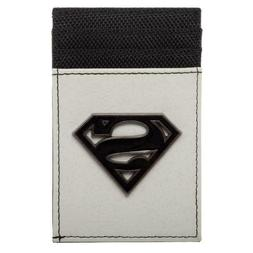 DC COMICS SUPERMAN BLACK METAL BADGE LOGO MENS CARD HOLDER F