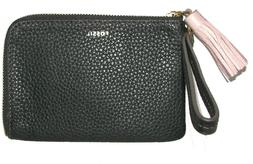 FOSSIL Tara Black Leather Zip-Around Tassel  Clutch Wristlet
