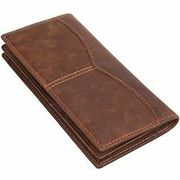 Texbo Men&39s Genuine Cow Leather Bifold Long Wallet Brown C