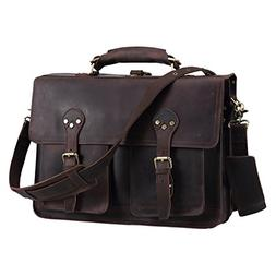 Texbo Men's 16 Inch Genuine Leather Satchel Laptop Briefcase