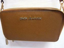 Michael Kors Travel Brown Leather Chain Phone Case Wallet Cr