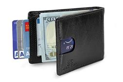 Travel Wallet RFID Blocking Bifold Slim Genuine Leather Thin