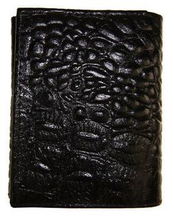 AG Wallets Mens Trifold Crocodile Embossed Credit Card ID Le