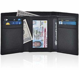 Trifold Wallets for Men - Real Leather RFID Protected Front